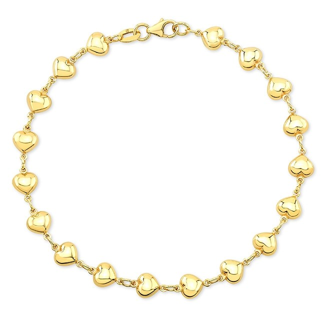 Kids' 14k Yellow Gold Endless Puffed Heart Bracelet