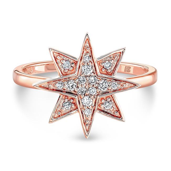 14k Rose Gold Diamond Starburst Ring