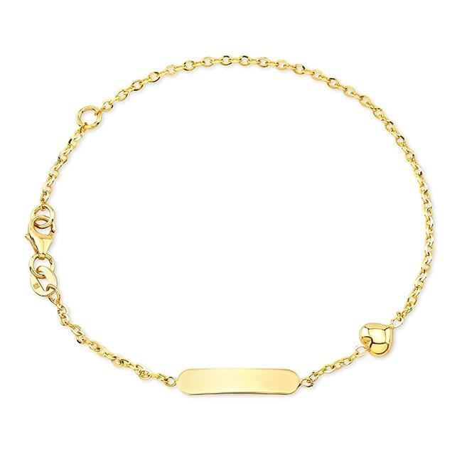 14k Yellow Gold Mini Nameplate Heart Bracelet