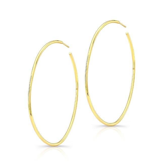 "14K Yellow Gold 2"" Hoop Earrings"