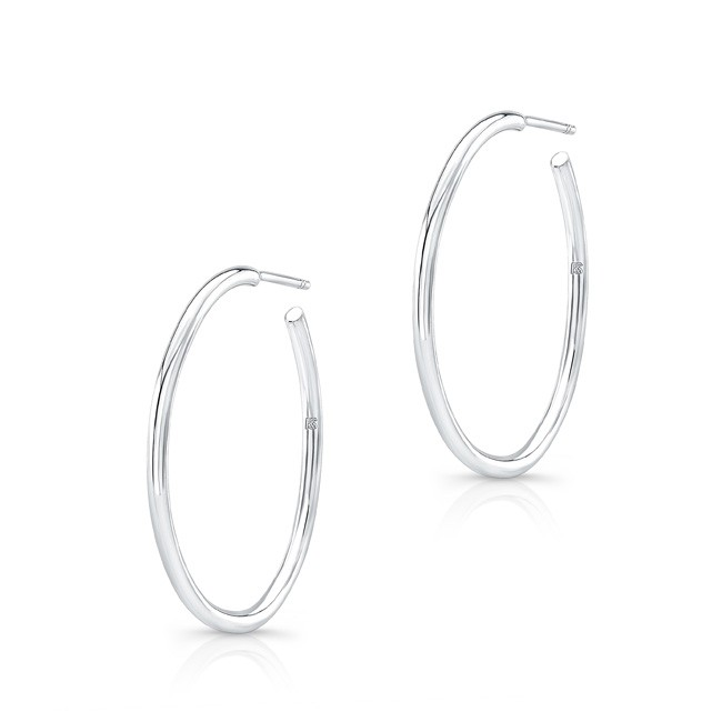"14K White Gold 1"" Hoop Earrings"