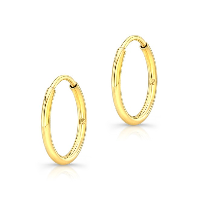 14K Yellow Gold 12mm Comfy Hoop Earrings