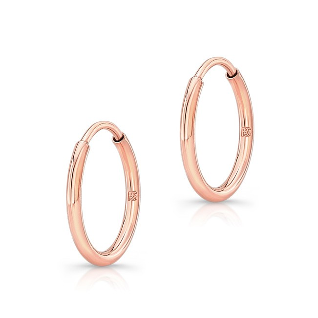 14K Rose Gold 12mm Comfy Hoop Earrings
