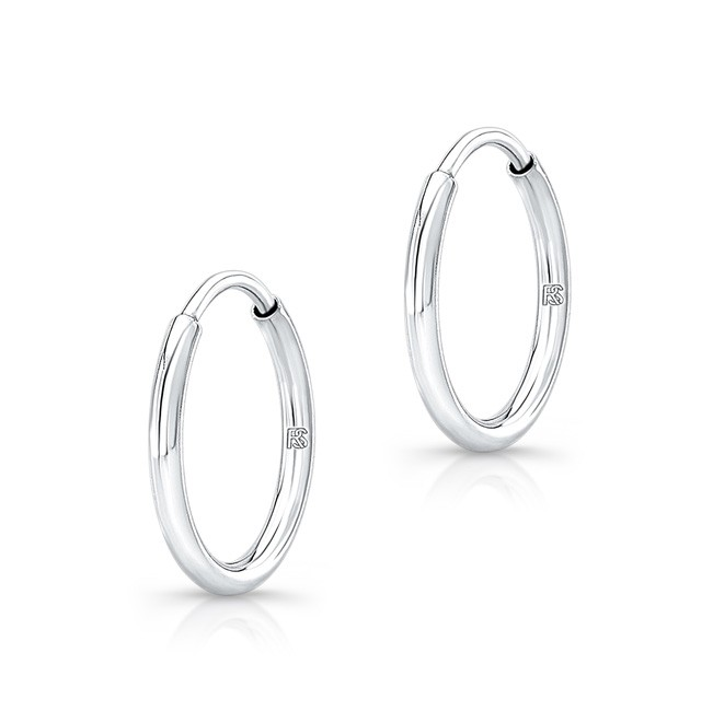 14K White Gold 12mm Comfy Hoop Earrings