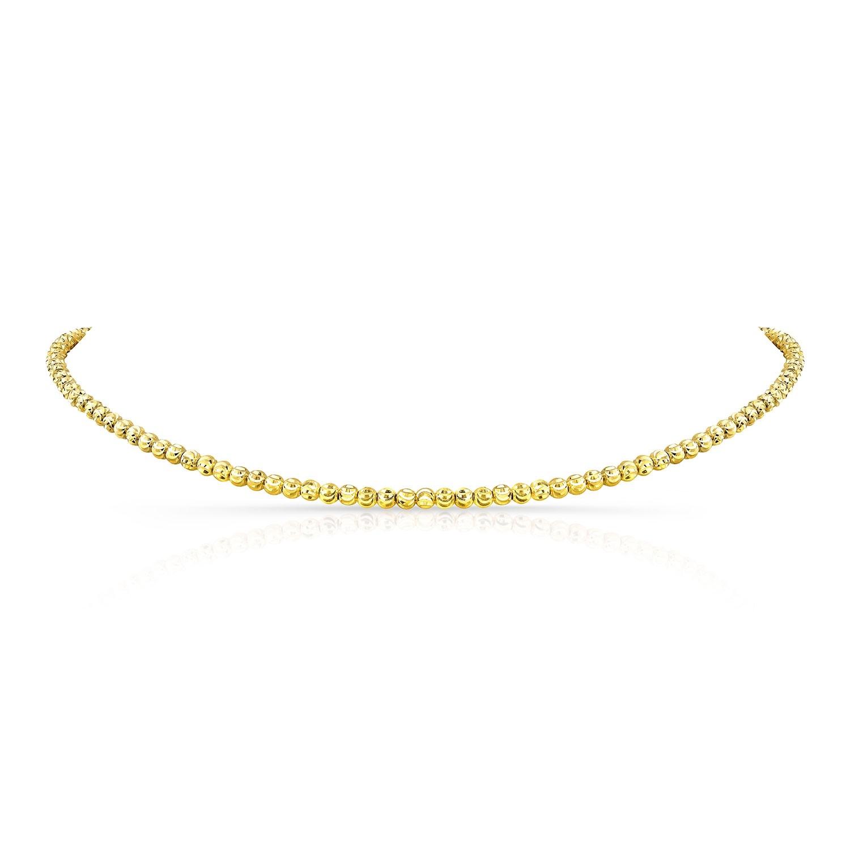 Kids' 14k Yellow Gold Diamond Cut Bead Choker