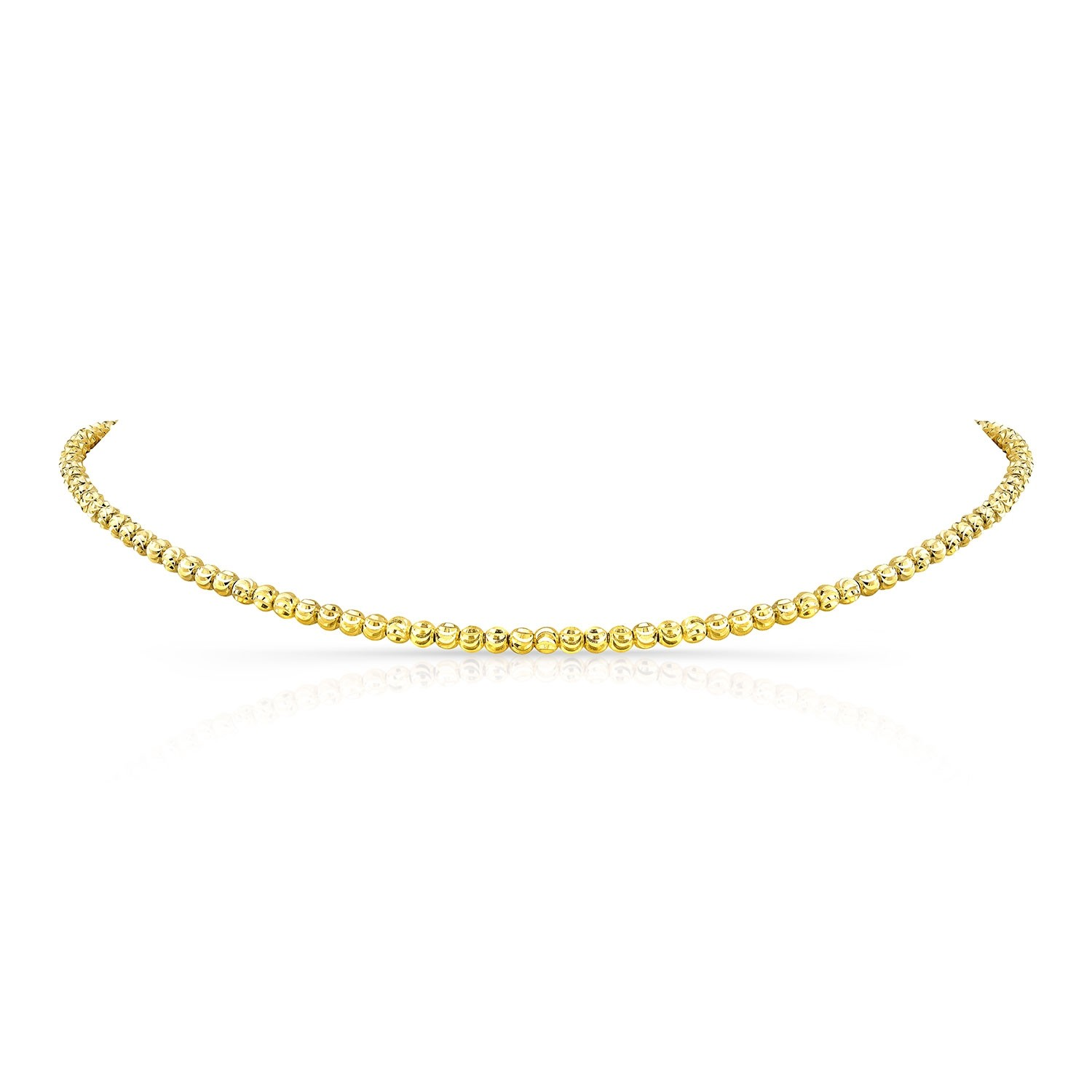 14k Yellow Gold Diamond Cut Bead Choker