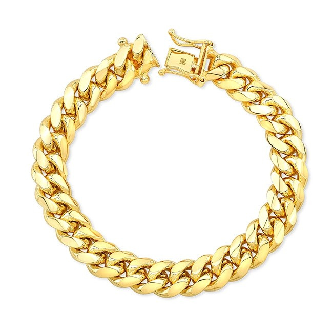 Men's 14k Yellow Gold Solid Miami Cuban Link Bracelet