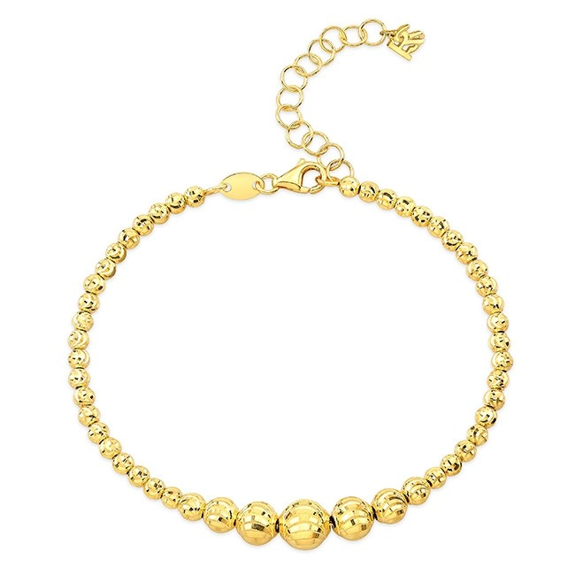 14k Yellow Gold Graduated Diamond Cut Bead Bracelet