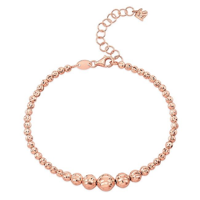 14k Rose Gold Graduated Diamond Cut Bead Bracelet