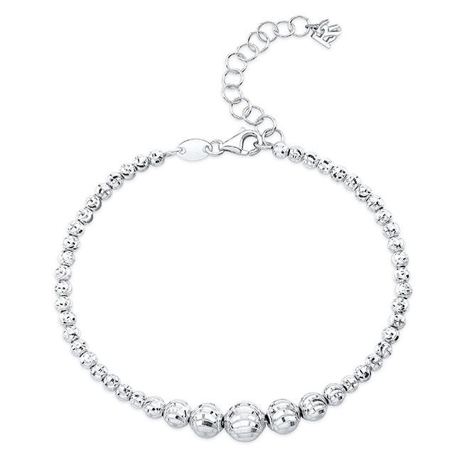 14k White Gold Graduated Diamond Cut Bead Bracelet