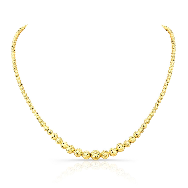 14k Yellow Gold Graduated Diamond Cut Bead Necklace