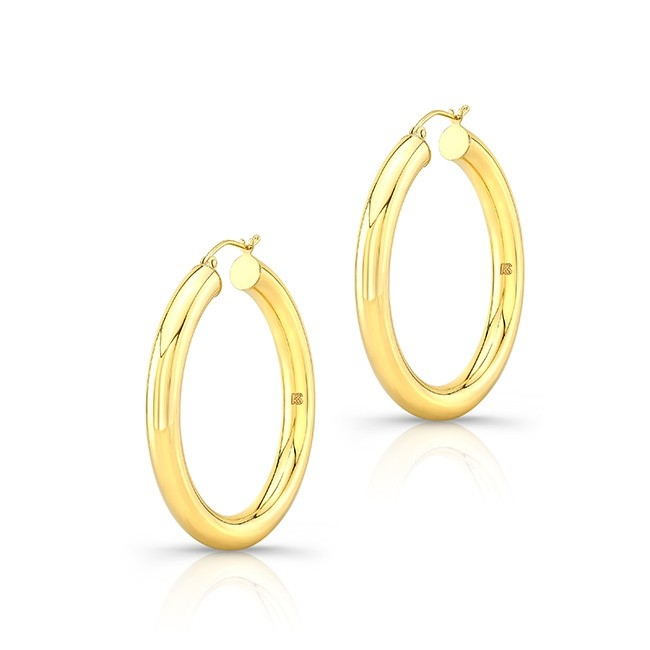 "14K Yellow Gold 1.5"" Tube Hoops"