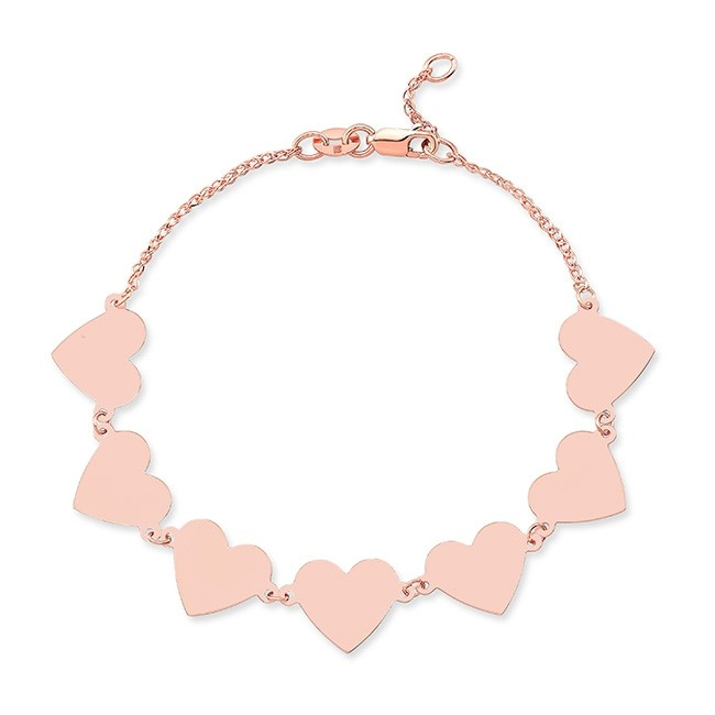 14k Rose Gold 7 Floating Heart Bracelet