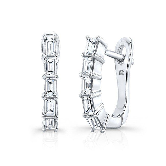 14k White Gold Diamond Baguette Huggie Hoops