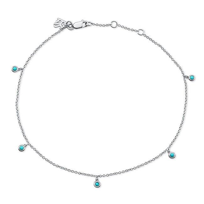 14k White Gold 5 Bezel Turquoise Anklet