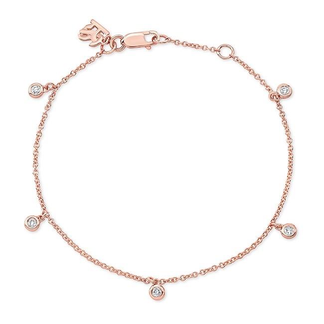14k Rose Gold 5 Bezel Diamond Bracelet