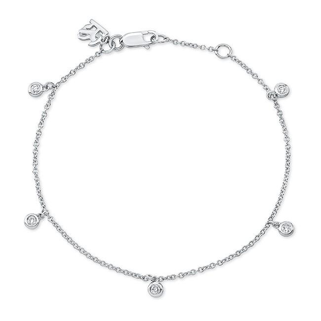 14k White Gold 5 Bezel Diamond Bracelet