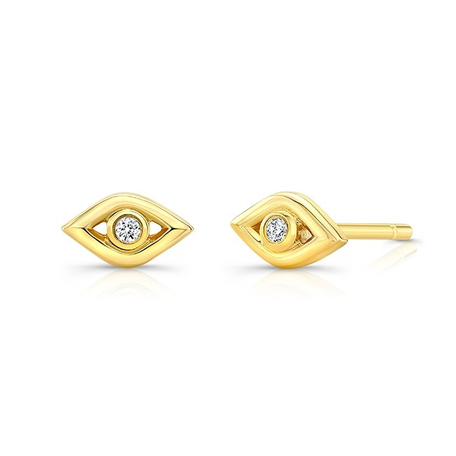 14k Yellow Gold Diamond Mini Evil Eye Earrings