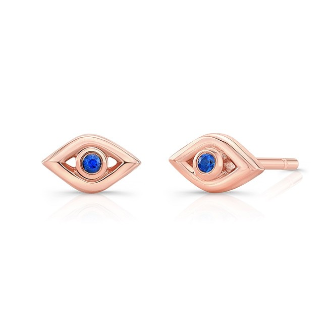 14k Rose Gold Sapphire Mini Evil Eye Earrings