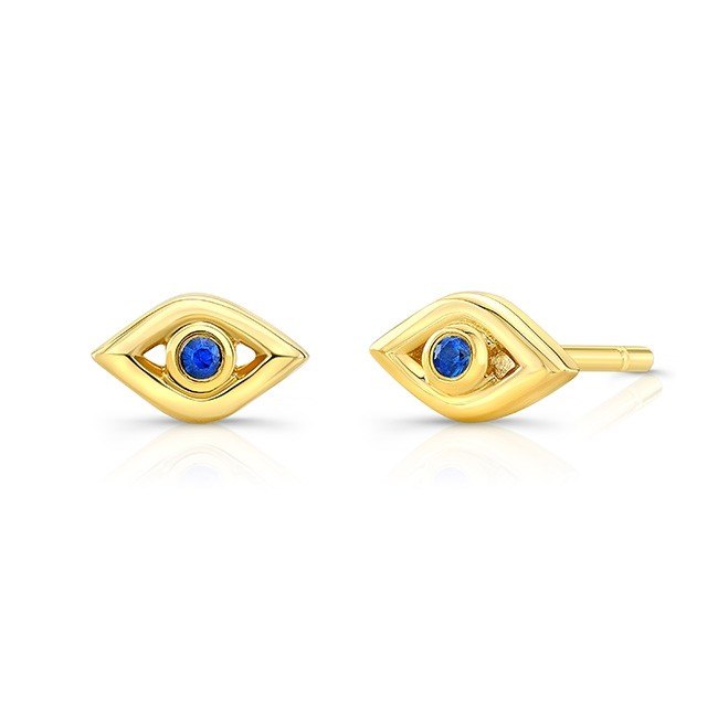 14k Yellow Gold Sapphire Mini Evil Eye Earrings