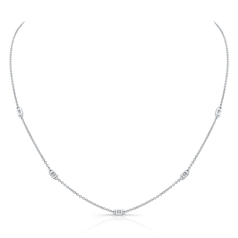 14k White Gold 5 Bezel Baguette Diamond Necklace