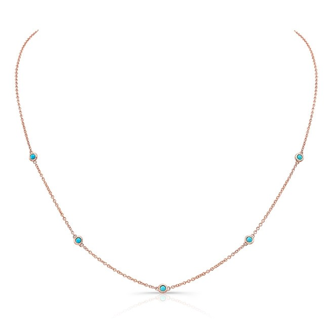 14k Rose Gold 5 Bezel Turquoise Necklace