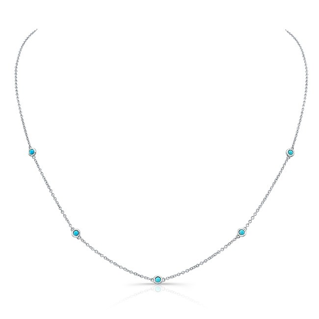 14k White Gold 5 Bezel Turquoise Necklace