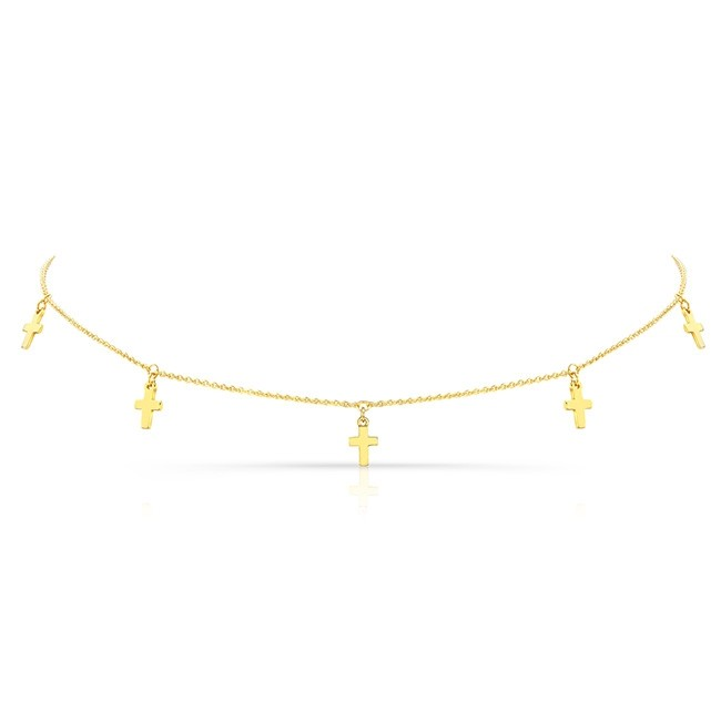 14k Yellow Gold 5 Cross Adjustable Choker