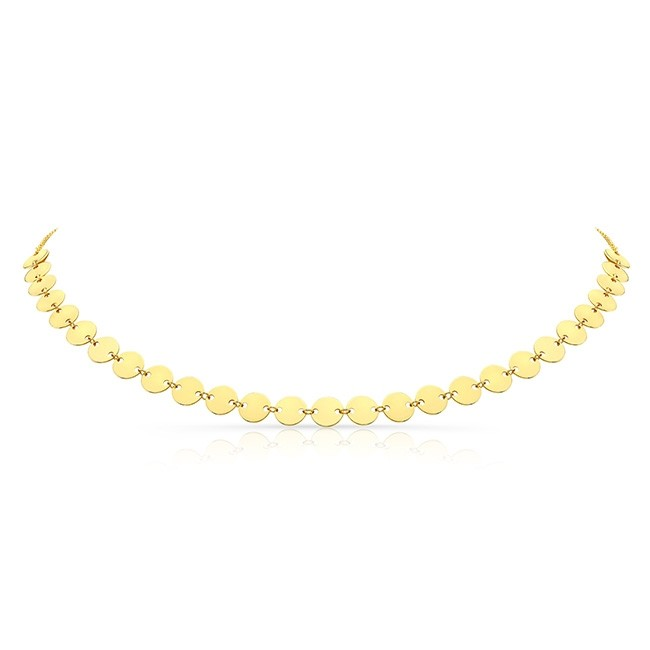 14k Yellow Gold Endless Disc Adjustable Choker