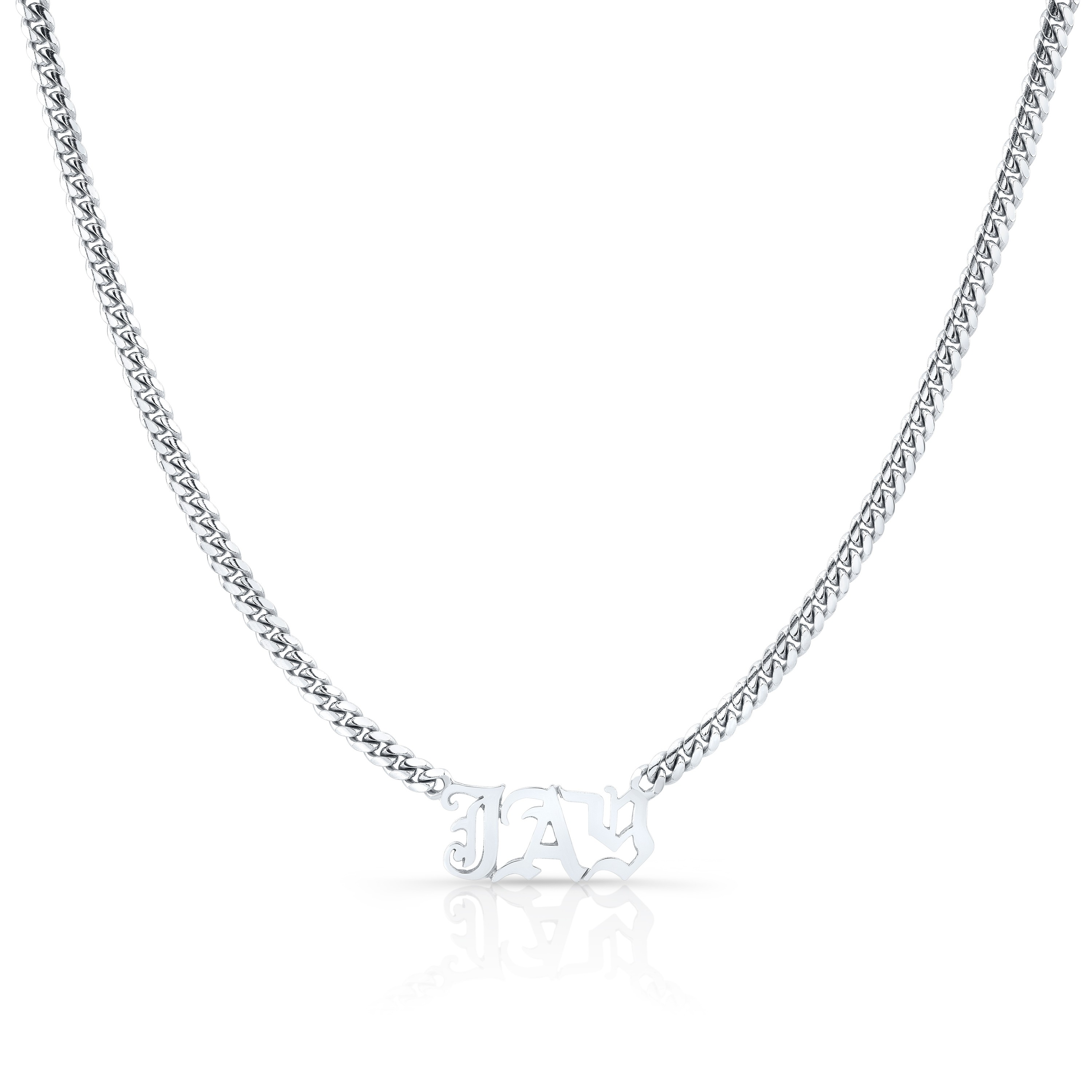 14k White Gold Cuban Link Personalized Necklace