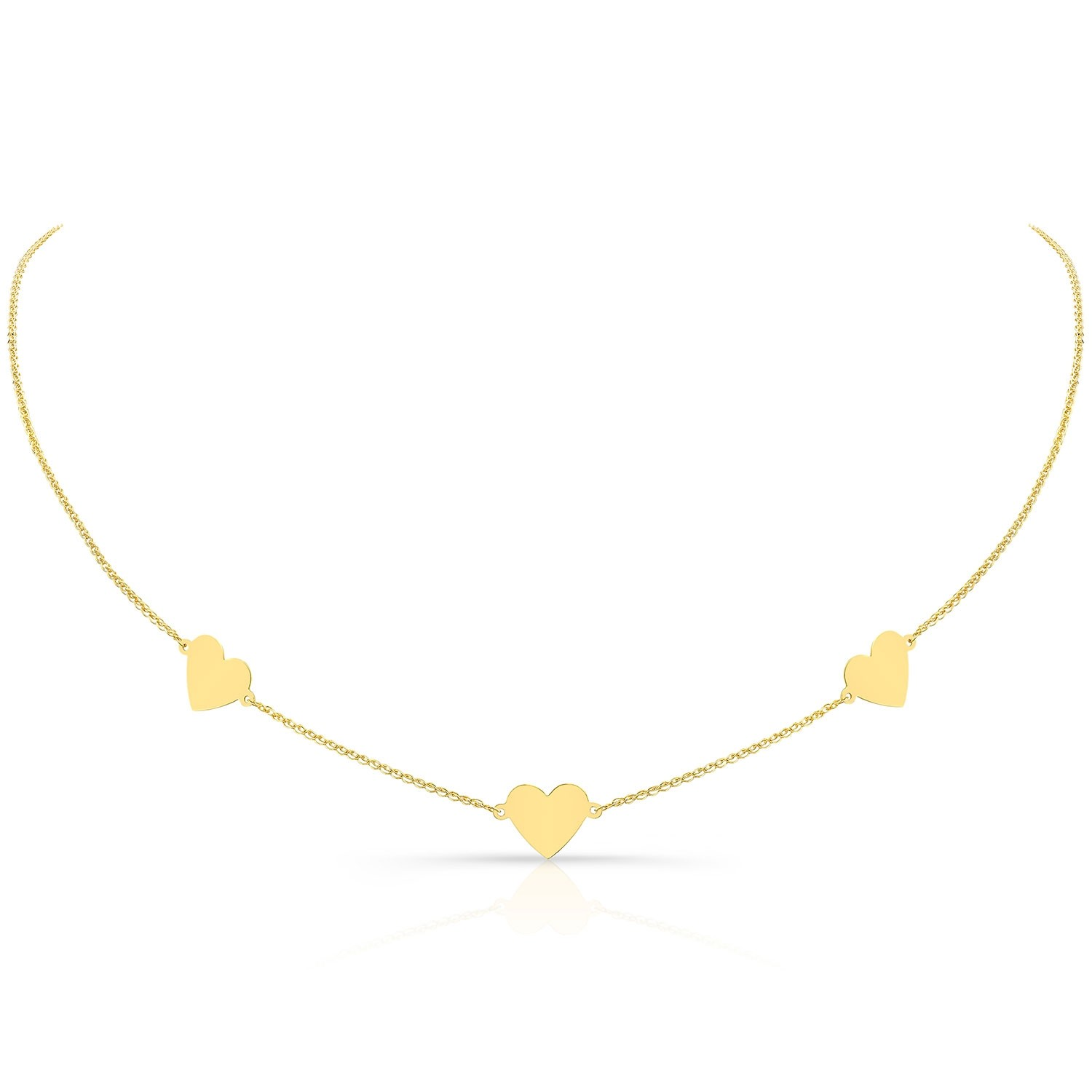 14k Yellow Gold Triple Floating Heart Necklace