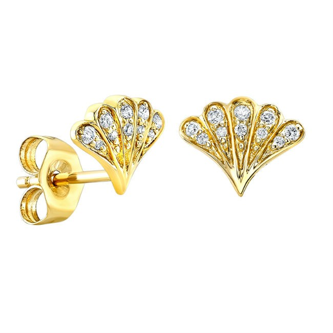 14k Yellow Gold Pave Diamond Shell Stud Earrings