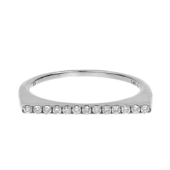 14k White Gold Diamond Stackable Bar Ring