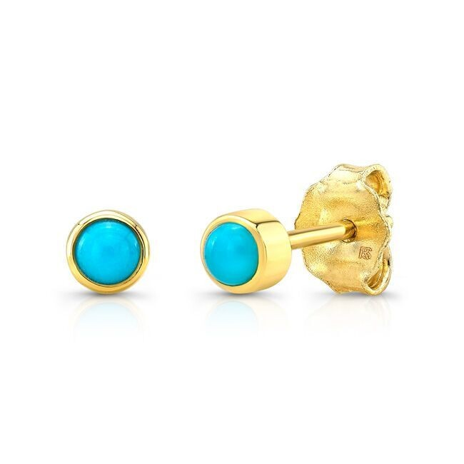 14k Yellow Gold Bezel Set Turquoise Stud Earrings