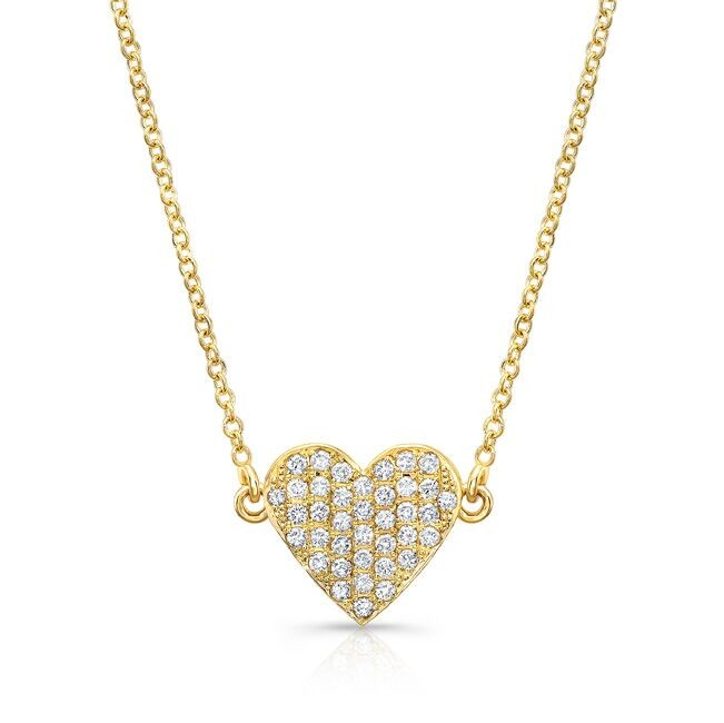 14k Yellow Gold Diamond Floating Heart Necklace