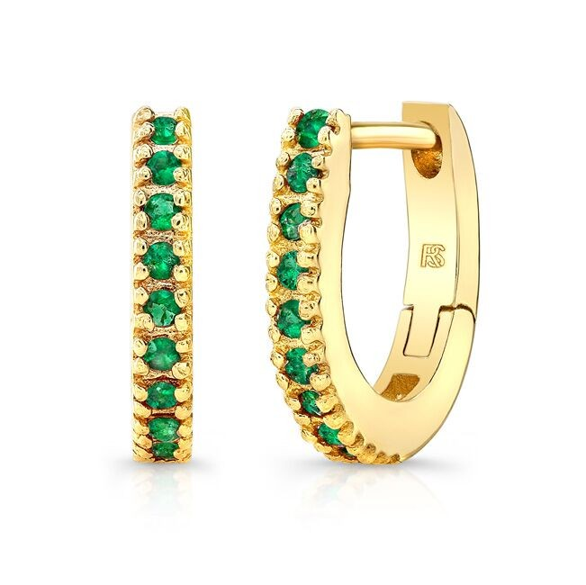14K Yellow Gold Emerald Huggie Hoops With Security Latch