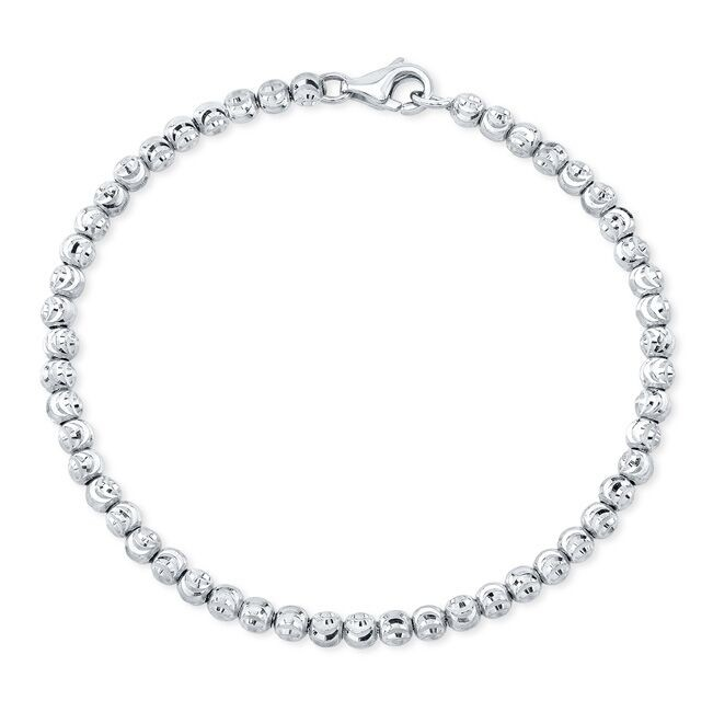 14k White Gold Diamond Cut Bead Bracelet
