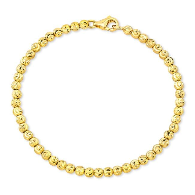 Men's 14k Yellow Gold Diamond Cut Bead Bracelet