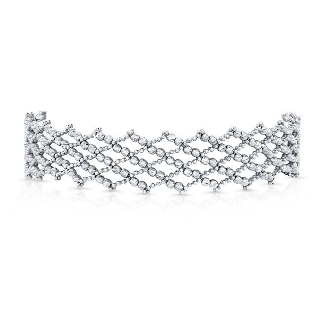 14k White Gold Diamond Cut Crosshatch Choker