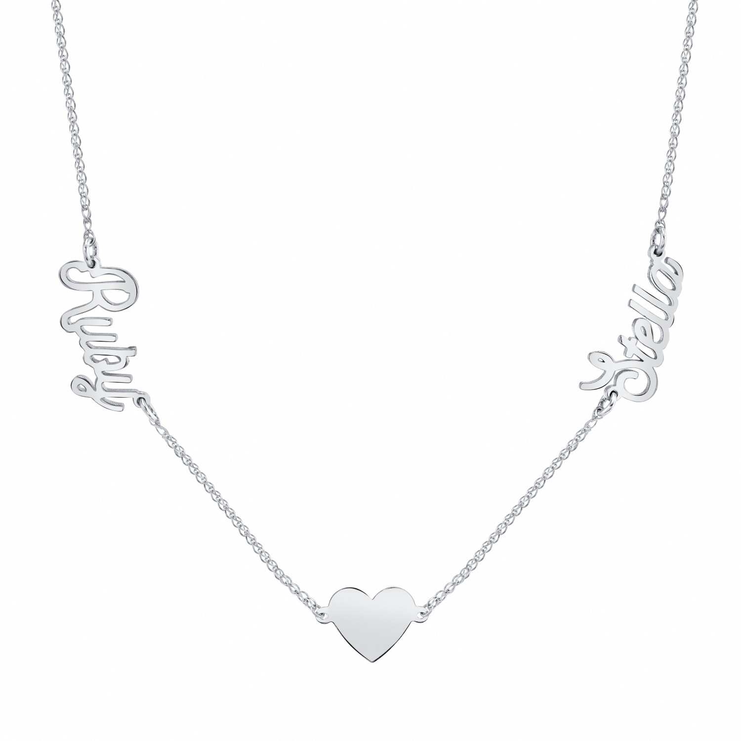 14k White Gold Personalized Nameplate Floating Heart Necklace