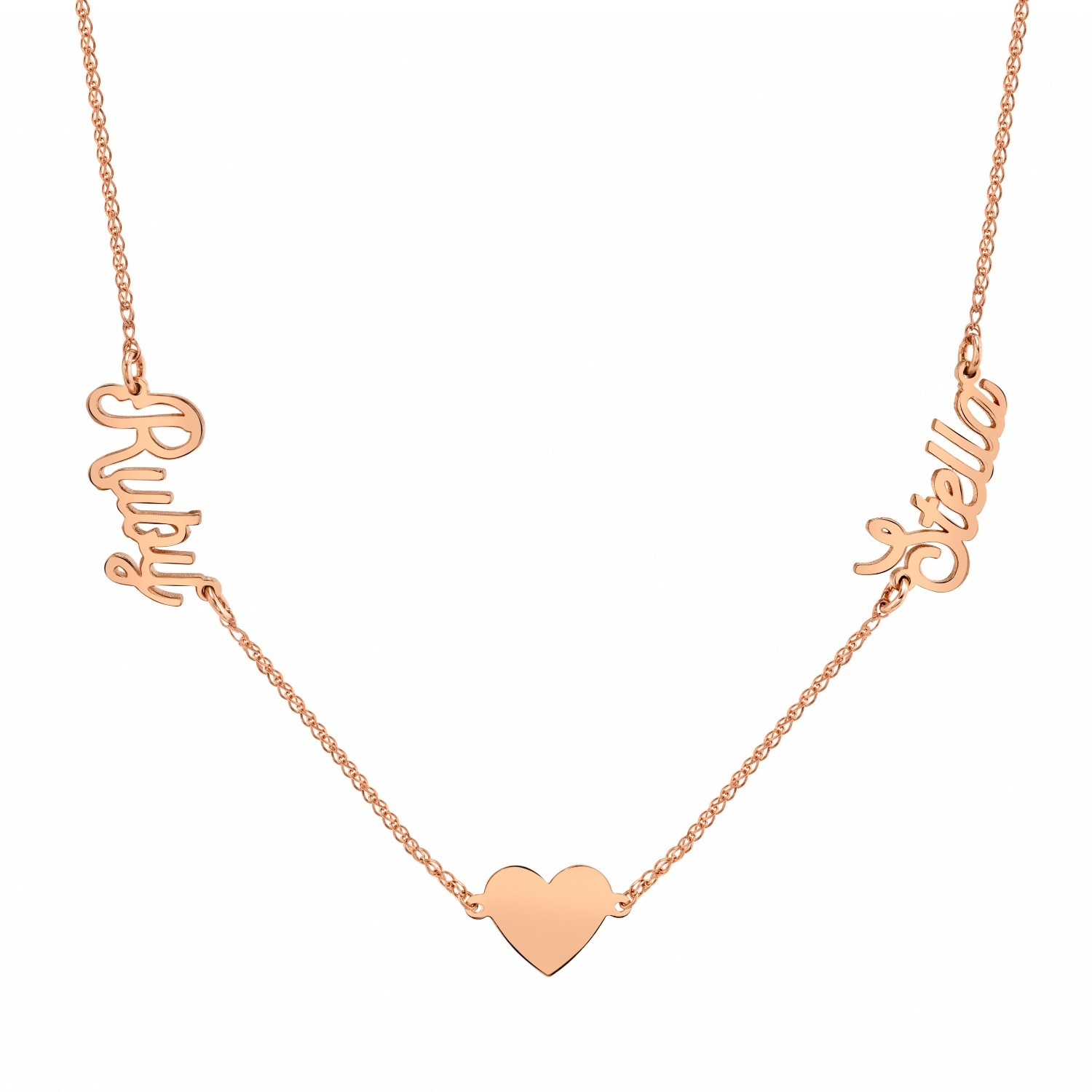 14k Rose Gold Personalized Nameplate Floating Heart Necklace