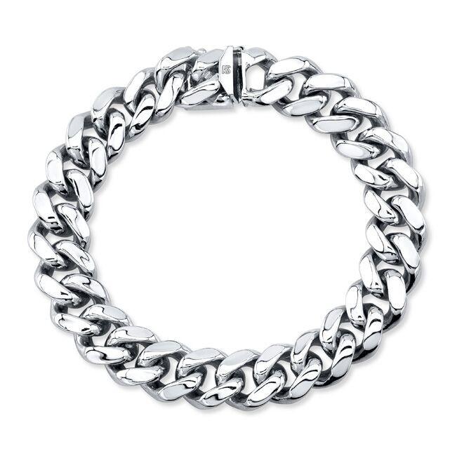 14k White Solid Gold Cuban Link Bracelet