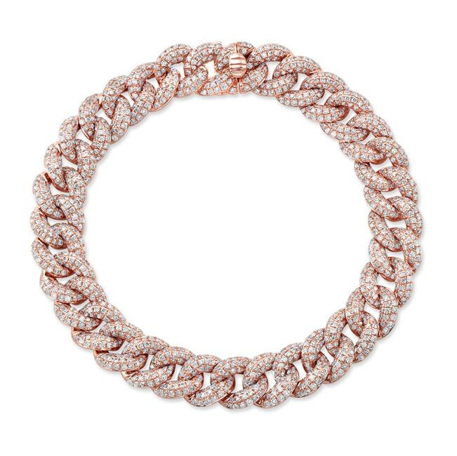 14k Rose Gold Pave Diamond Cuban Link Bracelet