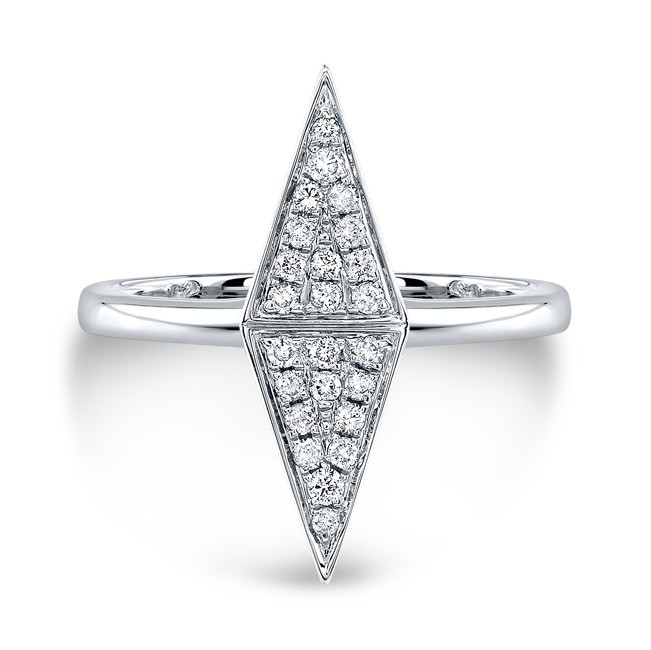 14k White Gold Diamond Double Triangle Ring